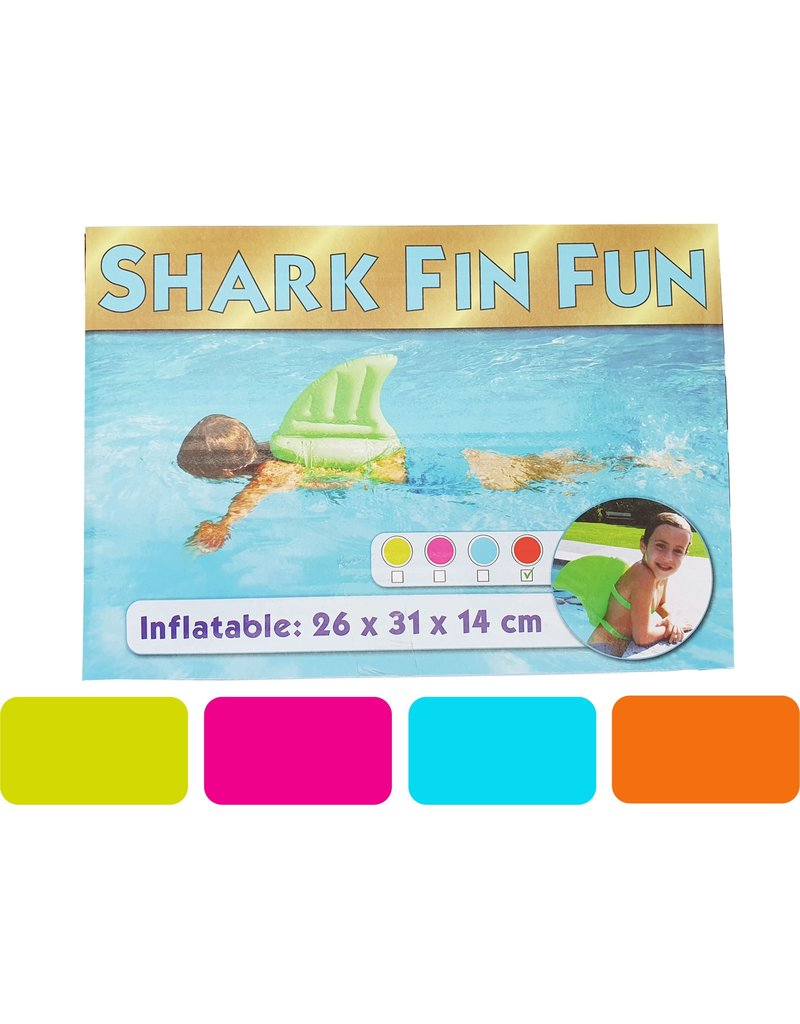 Shark Fin Fun Opblaasbaar 26x31x14cm. 4 assorti kleur