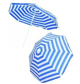 Parasol Ø160cm. blauw-wit gestreept