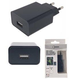 Smartphone USB Oplader 230V 2A Zwart