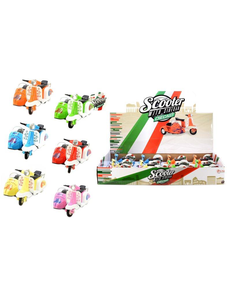 DieCast Scooter Retro met zijspan 6 assorti kleur met pullb