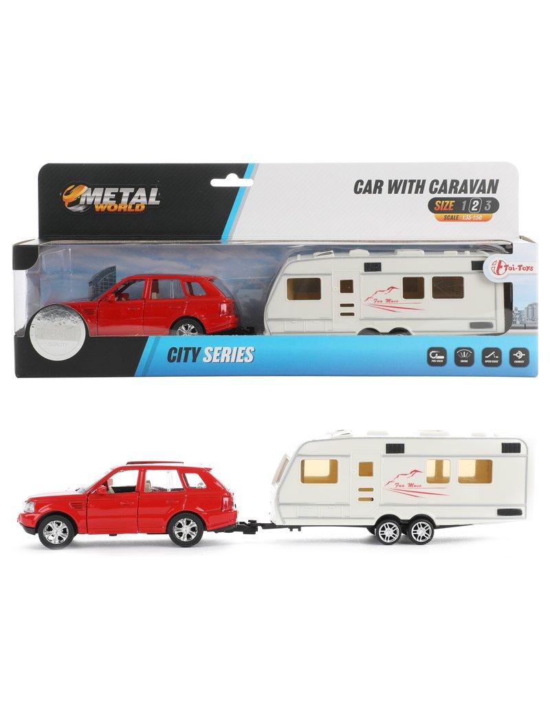 DieCast Auto met Caravan 1:48 met pull back