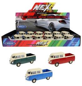 Diecast VW Bus 1963 DoubleCap Pick-up 1:34 assorti kleur