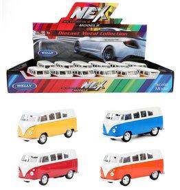 DieCast VW Classical Bus 1962 1:32 4 assorti kleur