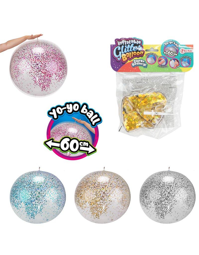 Opblaasbare Glitterballon Ø60cm 4 assorti kleur