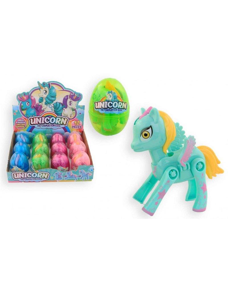 Unicorn in ei 8,5 cm 4 assorti kleur