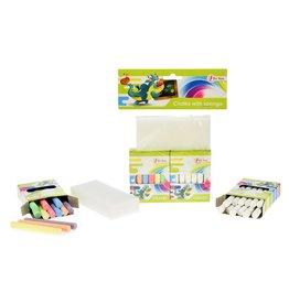Set Schoolbordkrijtjes 12x wit + 12x kleur met spons