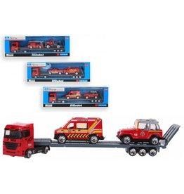 Vrachtauto met oplegger en 2 auto's brandweer 24 cm