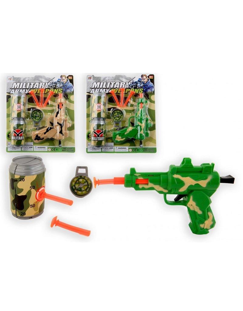 Geweer Soft Dart Gun Militair met accessoires 2 ass. kleur