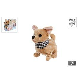 Loop Hond Chihuahua Pluche 15,5cm. met diverse functies