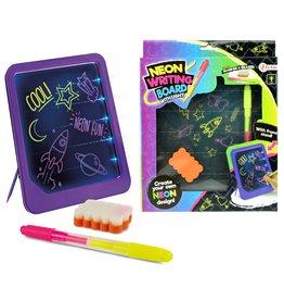 Neon Glow Schrijfbord met stift en spons 26x21x2,5cm.