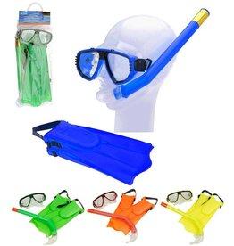 Snorkelset met duikbril en vliezen 4 assorti kleur