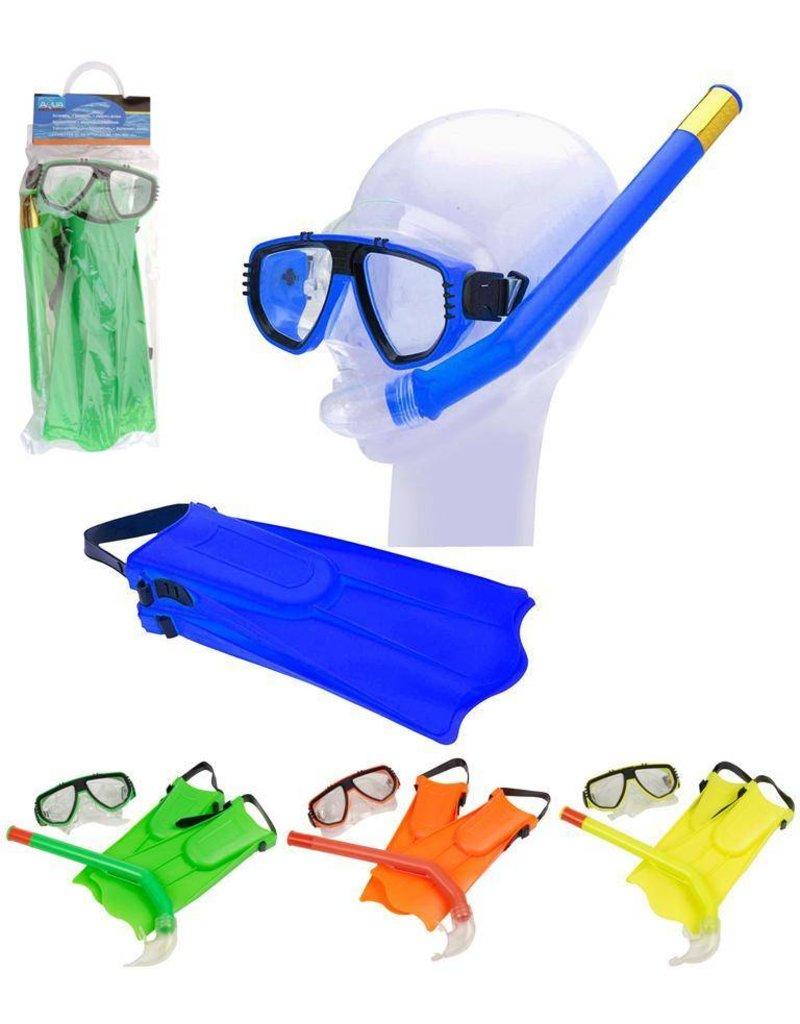 Snorkelset met duikbril en vliezen 3 ass. kleur