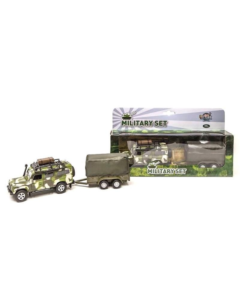 DieCast Landrover Army+aanhanger 28cm. pull back