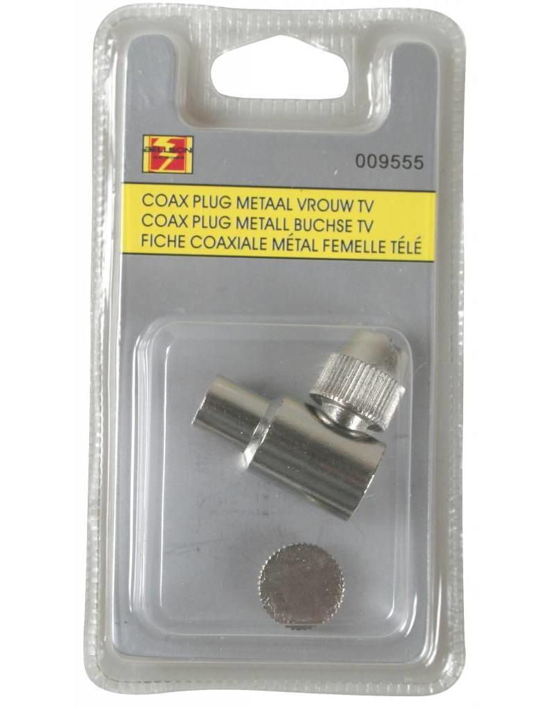 Coax Plug Metaal Vrouw TV/BC