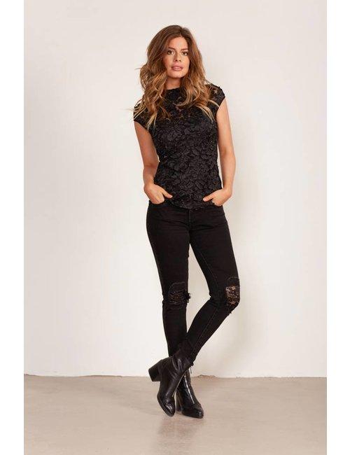 Jacky Luxury Skinny  fit jeans met kanten details
