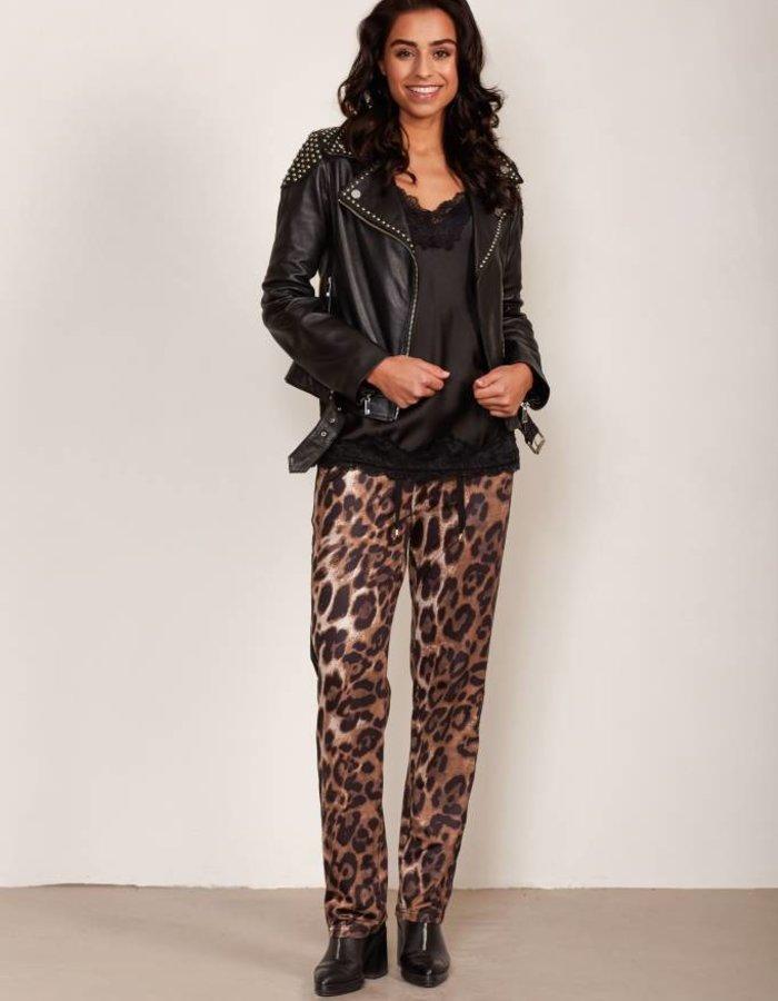 Track pants met luipaarddessin