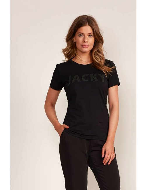 Jacky Luxury T-shirt met logo in metallic