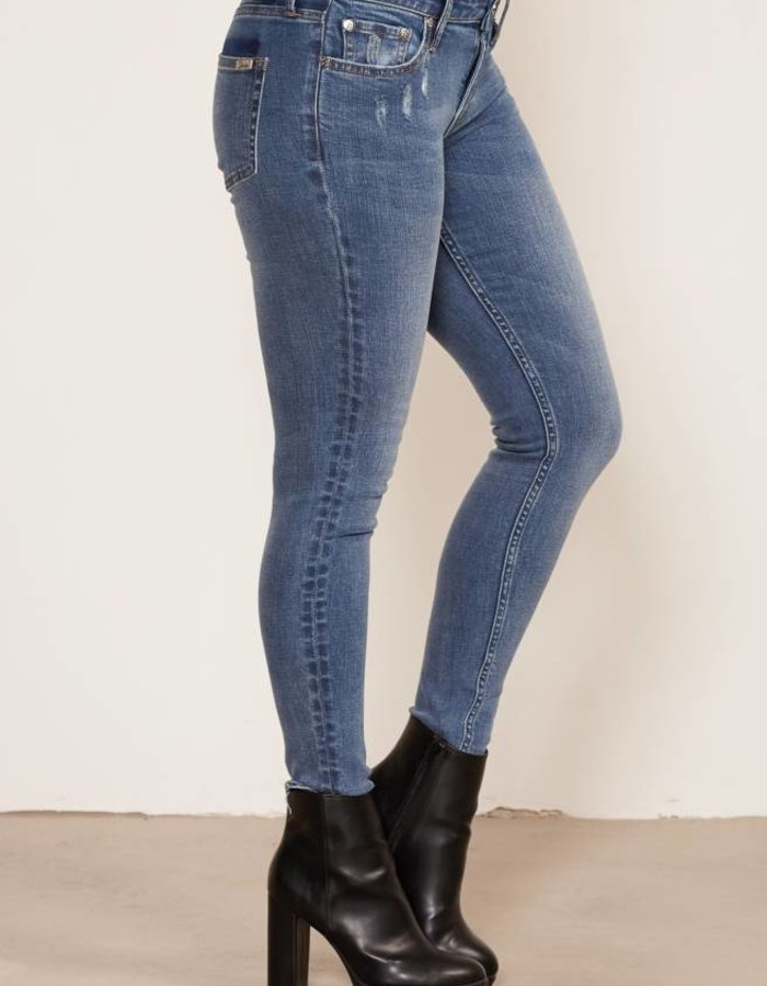 Skinny fit jeans in middenblauwe wassing