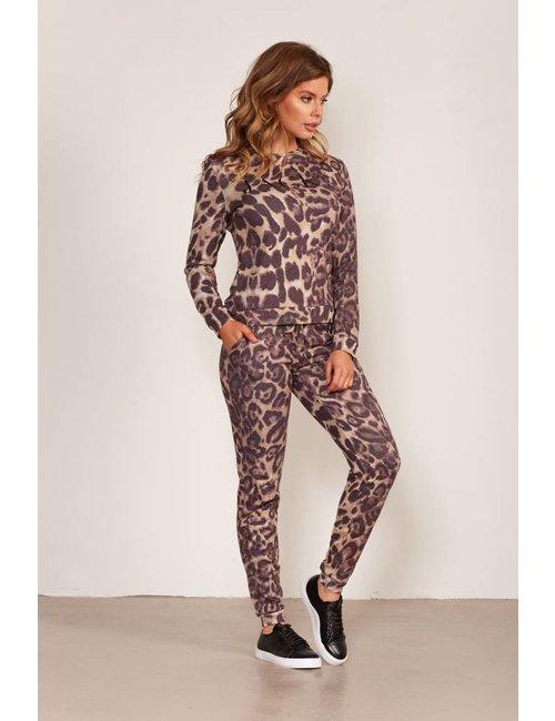 Jacky Luxury Logo sweater met luipaarddessin