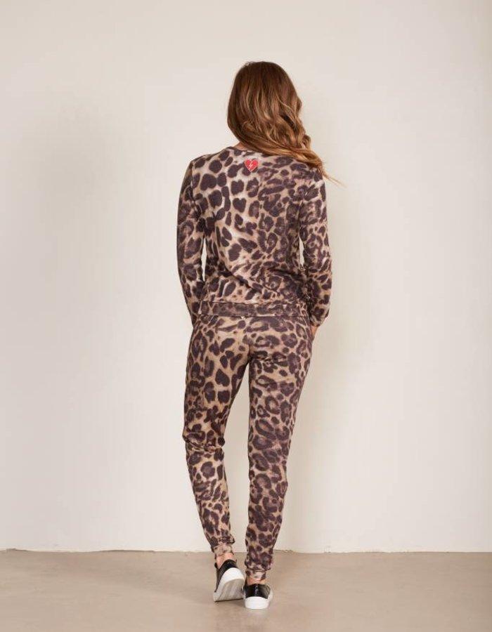 Logo sweater met luipaarddessin
