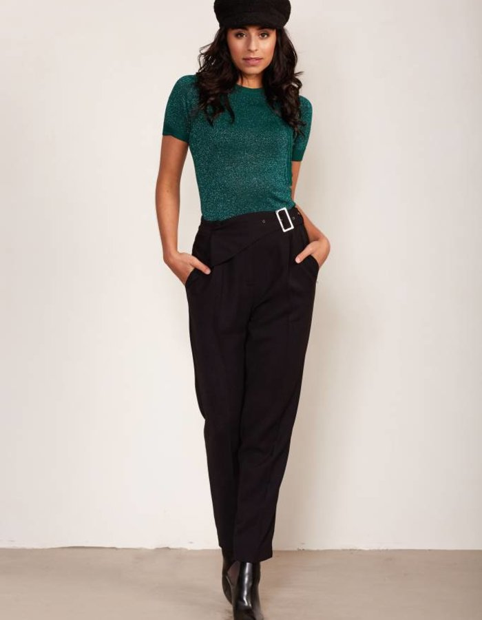 Tapered fit pantalon met ceintuur
