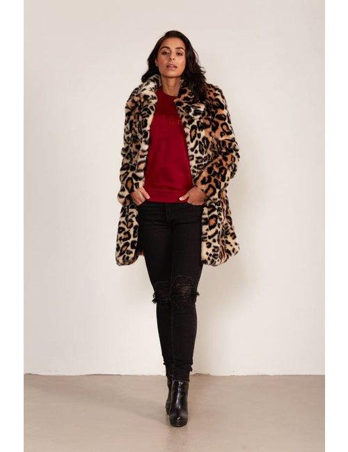 Jacky Luxury Faux fur jas met luipaarddessin