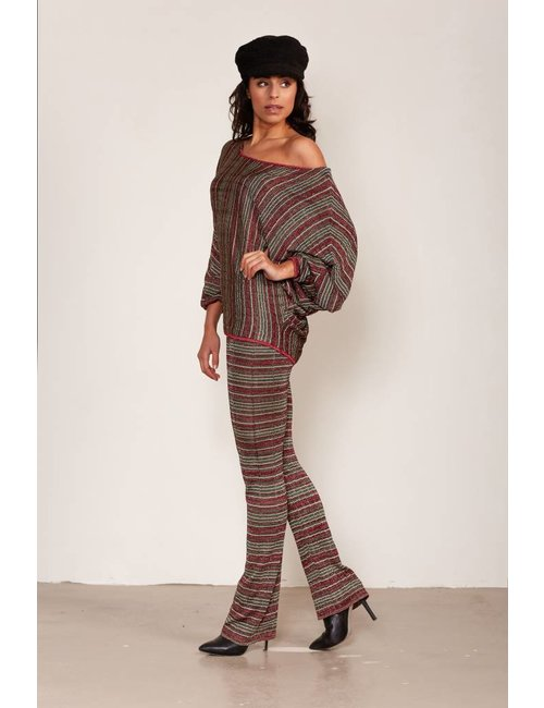Jacky Luxury Flared stretchbroek met metallic streepdessin
