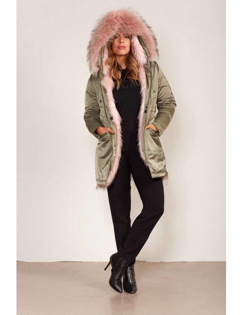 Jacky Luxury Reversibele jas met fur en royale capuchon