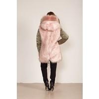 Reversibele jas met fur en royale capuchon