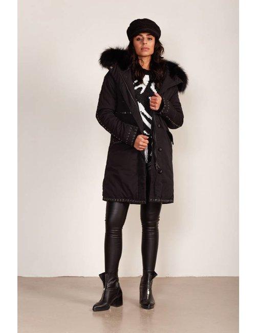 Jacky Luxury Parka met eyelet details en fur capuchon