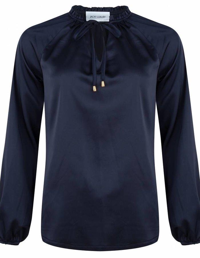 Satijnen blouse met strikdetail