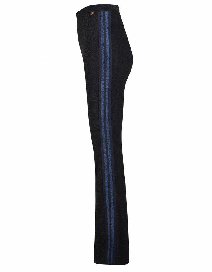 Flared glitter broek met streepdetail