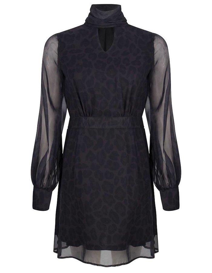 Leopard jurk met strikdetail.