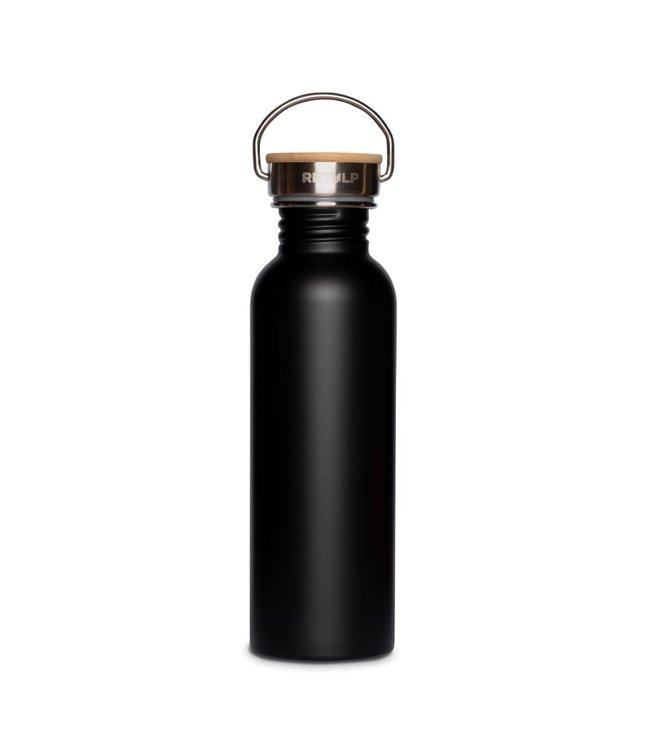 Retulp Zwarte RVS drinkfles met bamboe dop 750 ml