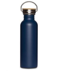 Retulp Blauwe RVS drinkfles met bamboe dop 750 ml