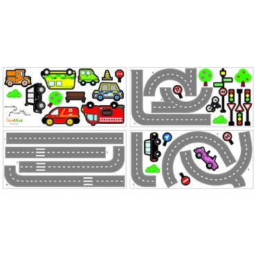 Decowall Muurstickers Road and Cars