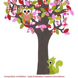Studio Poppy Behangboom Bosdieren groen-rood 001 A