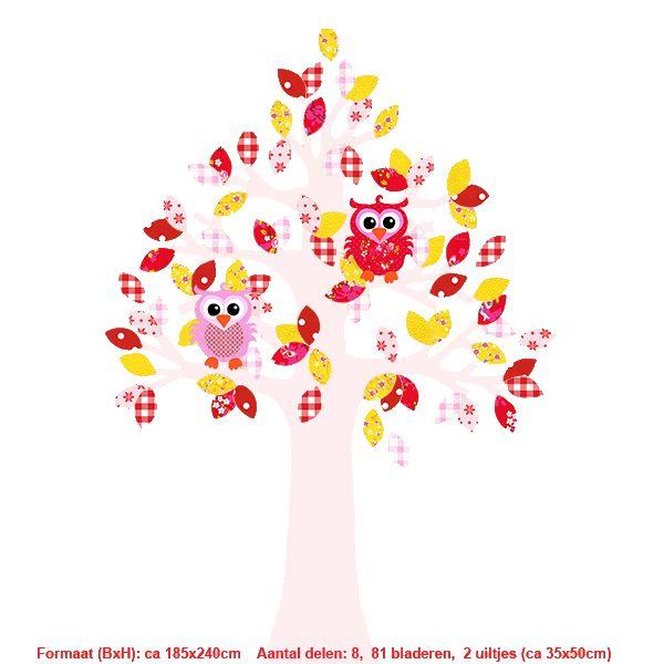 Studio Poppy Behangboom Uil rood-geel-roze 001 A (stam verkrijgbaar in diverse kleuren)