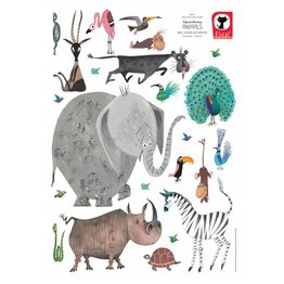KEK Amsterdam Muursticker set Animals Olifant XL Fiep Westendorp (85 x 119 cm)