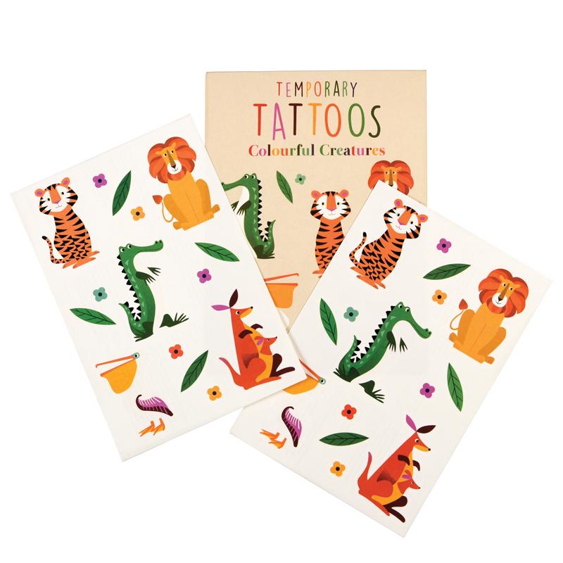 Rex London Tijdelijke Tattoo's Kleurrijke dieren