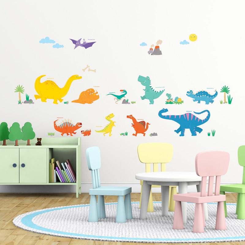 Decowall Muurstickers Kleurrijke Dinosaurs
