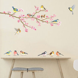 Decowall Muursticker vogels Cherry Blossom Birds op een tak