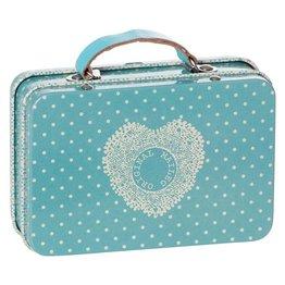 Maileg Metalen mini koffertje Blue met kleine stip