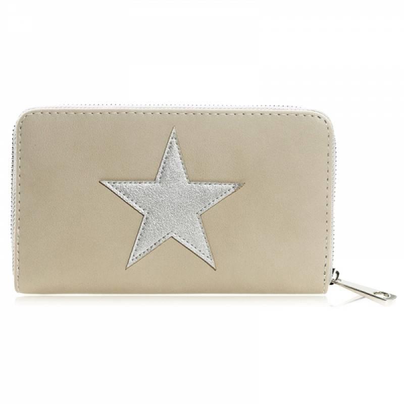 Portemonnee Star beige met zilveren ster