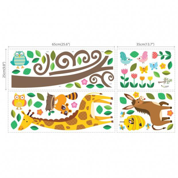 Decowall Muursticker tak scroll branch met dieren