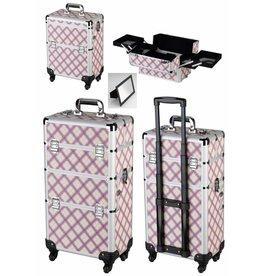 BeautyCase Trolley Roze H72xB36xD23cm.