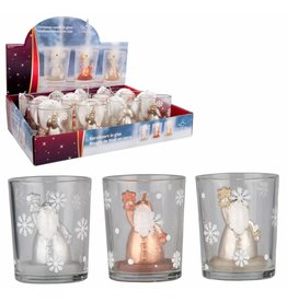 Kerstkaars in glas 5,5x6,5cm. 3 ass. design