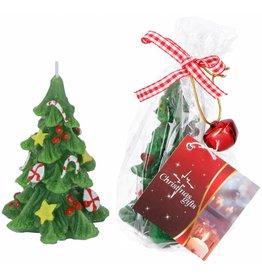 Kaars Kerstboom met bel in geschenkverpakking 6x9cm.