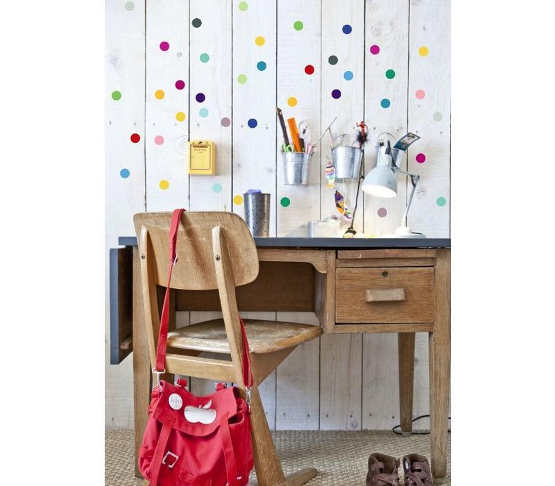 Pom le Bonhomme 120 Wandaufkleber Punkte multicolor 3,5cm