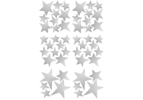 Pom le Bonhomme 50 wall stickers stars silver